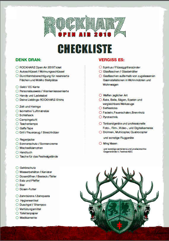 8e90d20d25 We've created a packing-list for you, so that you won't miss anything at  the ROCKHARZ Open Air 2019.